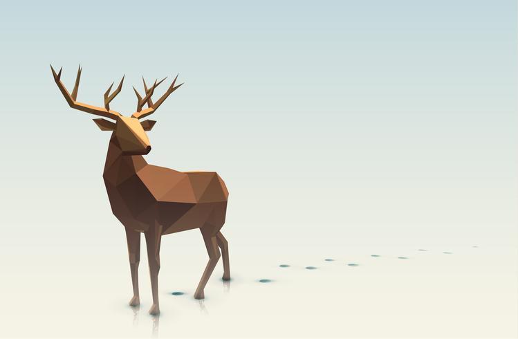 Polygonal Christmas Deer Illustration