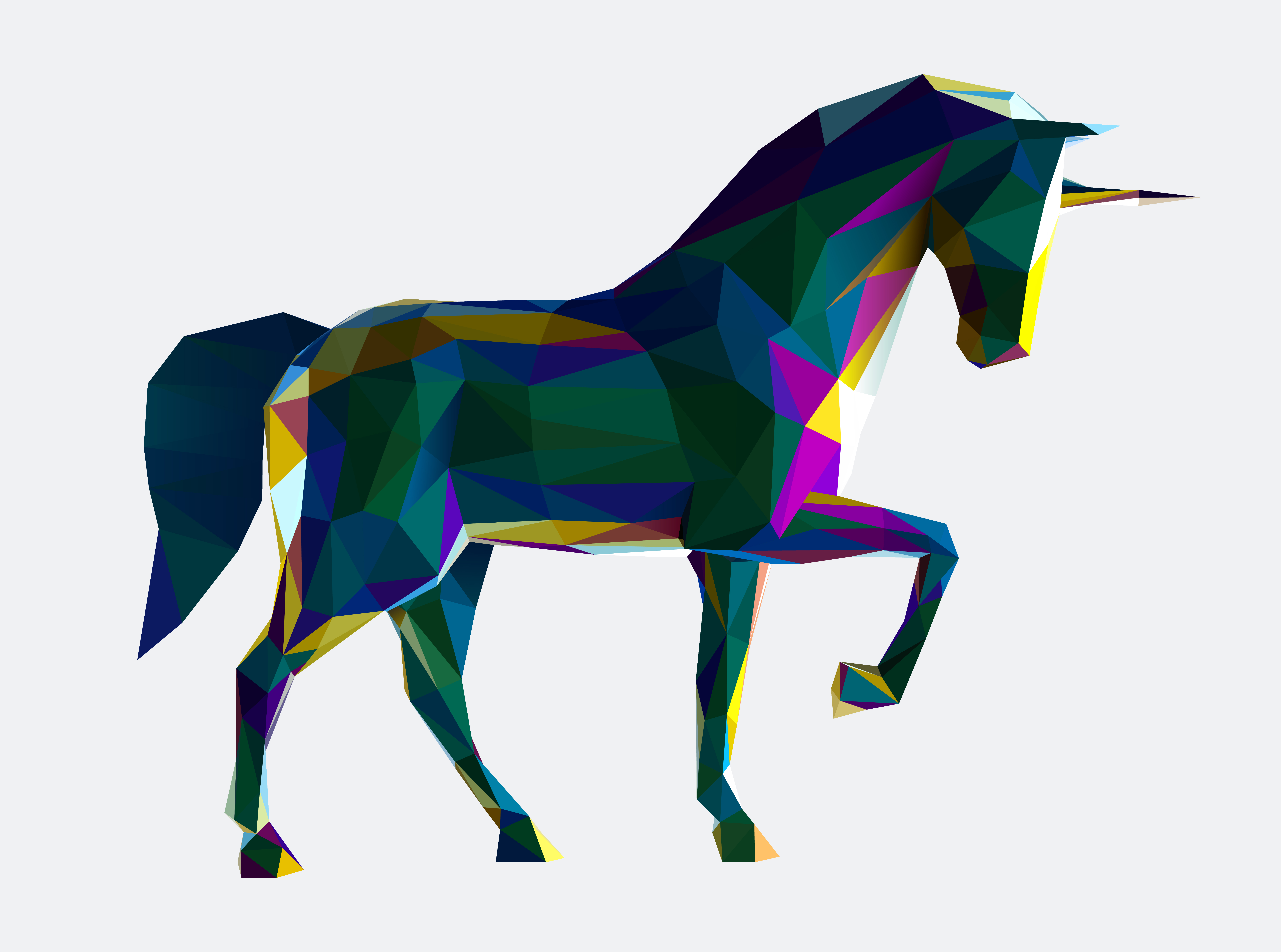 low poly vector unicorn illustration  download free