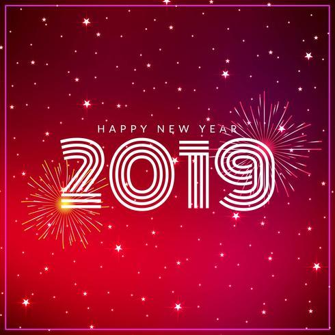 Elegante gelukkig Nieuwjaar 2019 begroeting achtergrond