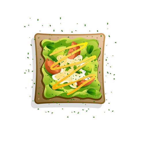 Avocado Toast Recept Met Tomaat En Mosterd Vector Illustratie