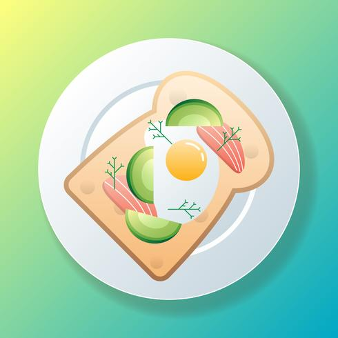 Avocado-Toast mit Lachsillustration