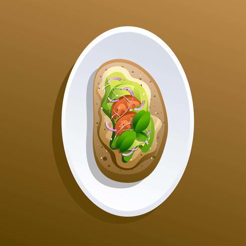 Avocado Toast Recipe With Onion And Basil Vector Illustration