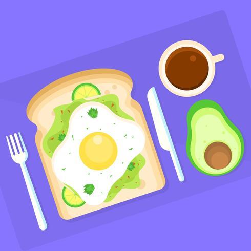 Pane tostato dell'avocado per l'illustrazione di vettore della prima colazione