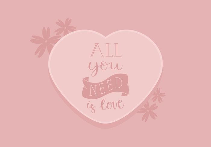 Carte d'amour coeur rose