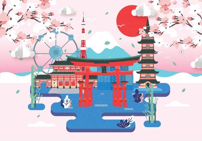 Vector de paisaje de tokio