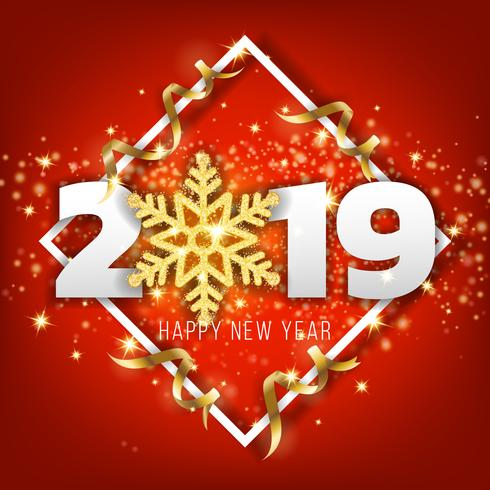 2019 happy new year greeting card background vector illustratio