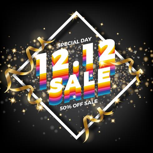 12.12 Shopping dag banner bakgrund. 12 december försäljnings post