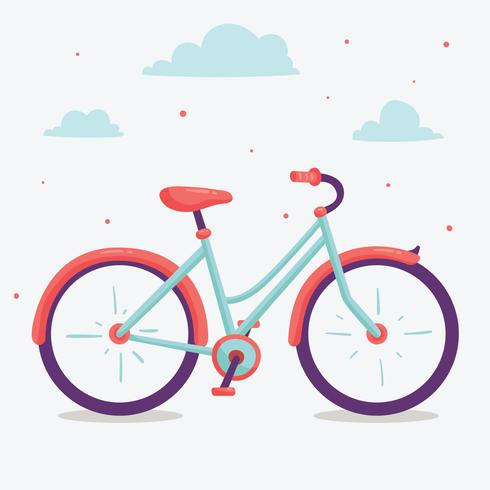 Blauw en roze fiets Vector