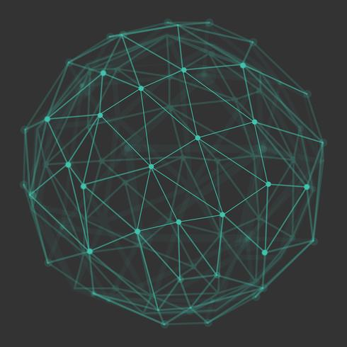 Polygonal 3d globe with connecting dots and lines.