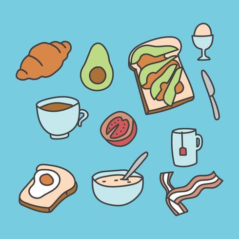 Doodled frukost ikoner vektor