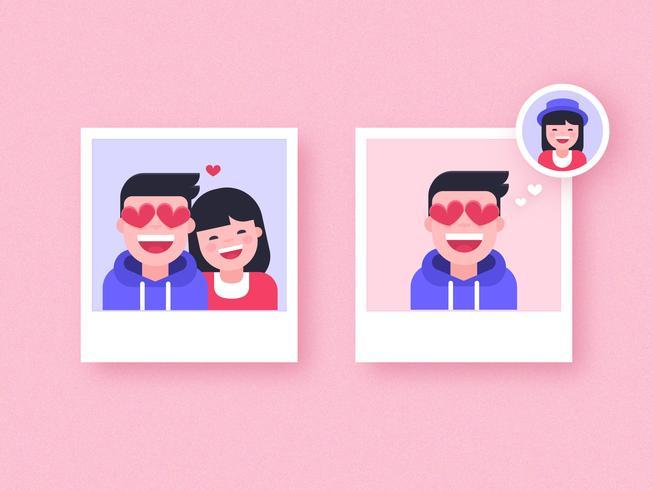 Pojke i kärlek Vector Polaroids