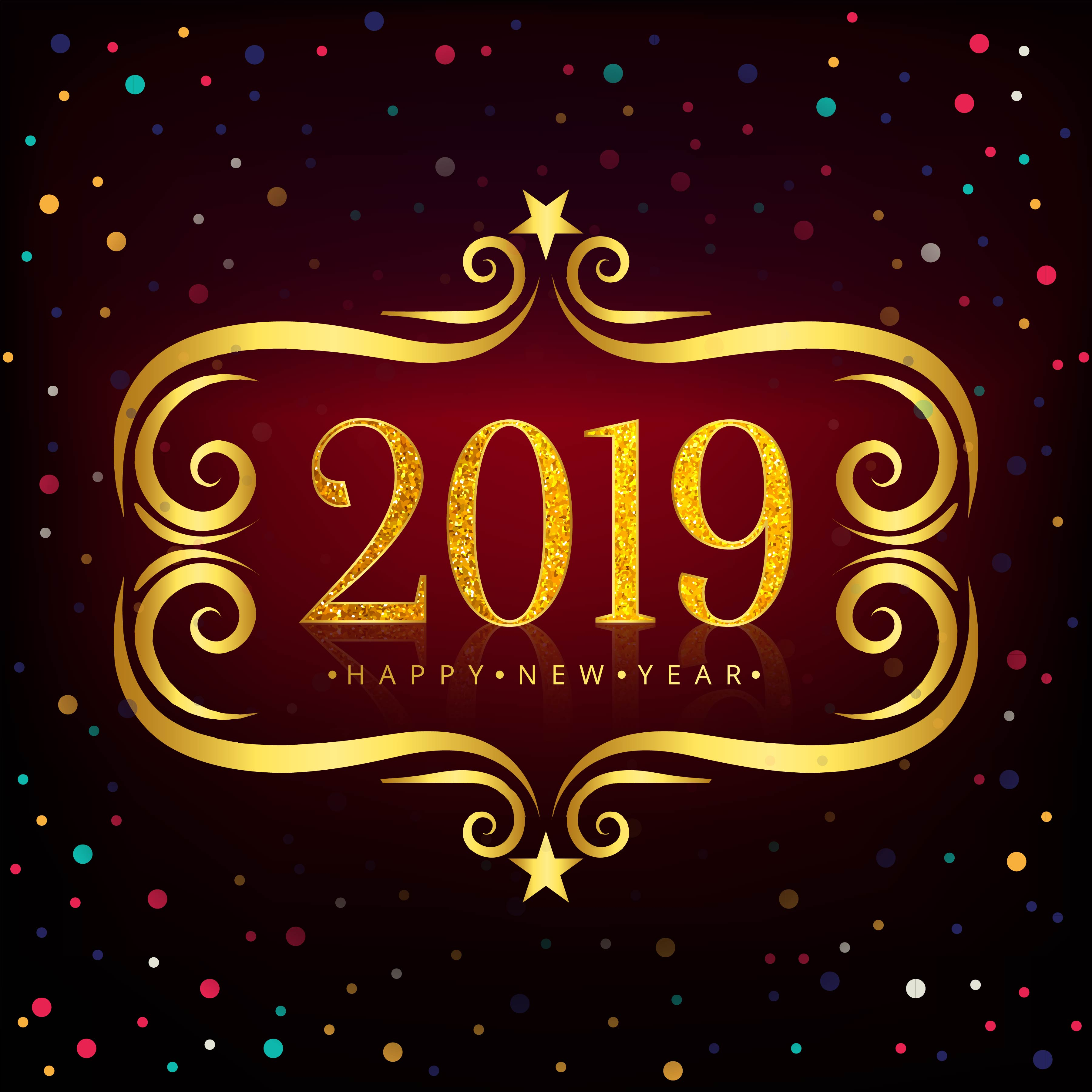 Happy New Year 2019 card celebration colorful background ...