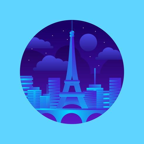 Tour Eiffel Paris Landmark Vector Illustration