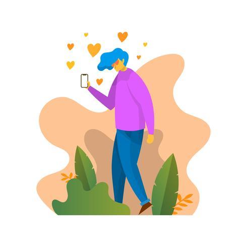 Flacher Junge mit Herz mustert mit Smartphone-Vektor-Illustration