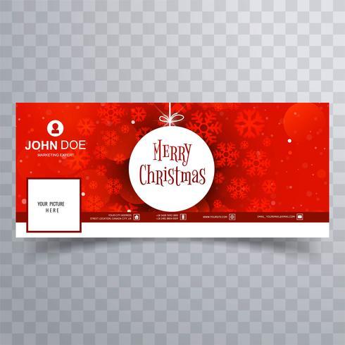 Hermosa feliz Navidad copo de nieve con facebook banner templa