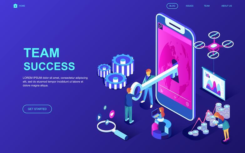 banner web di successo del team