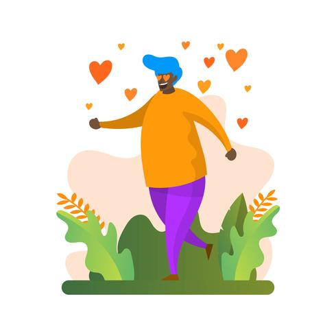 Flat Modern Fat Boy With Hearth Eyes Fall in Love Vector Illustration