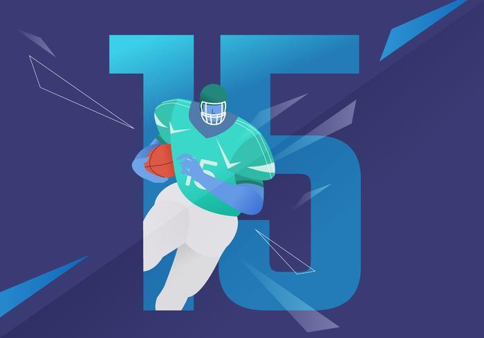 Ilustración icónica del vector del carácter del fútbol americano que corre