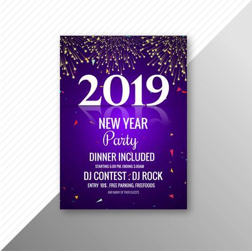 Modello di progettazione di celebrazione di opuscolo festa di nuovo anno 2019