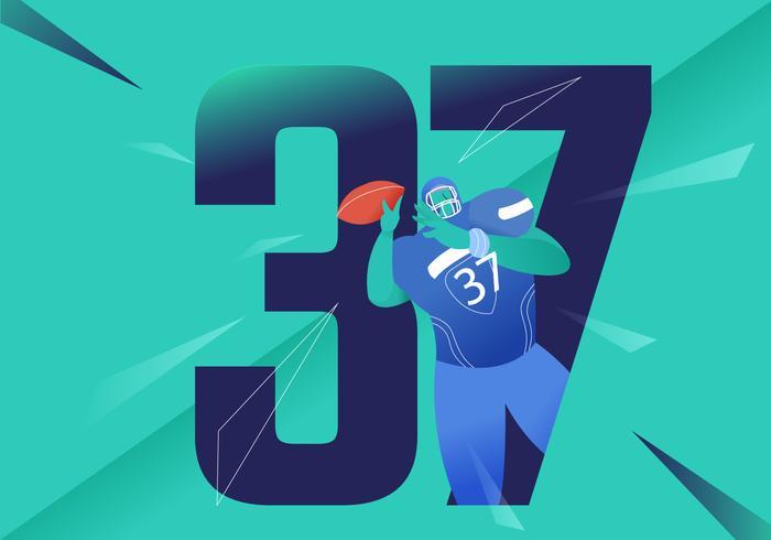 Heroic American Football Character Vector Illustration