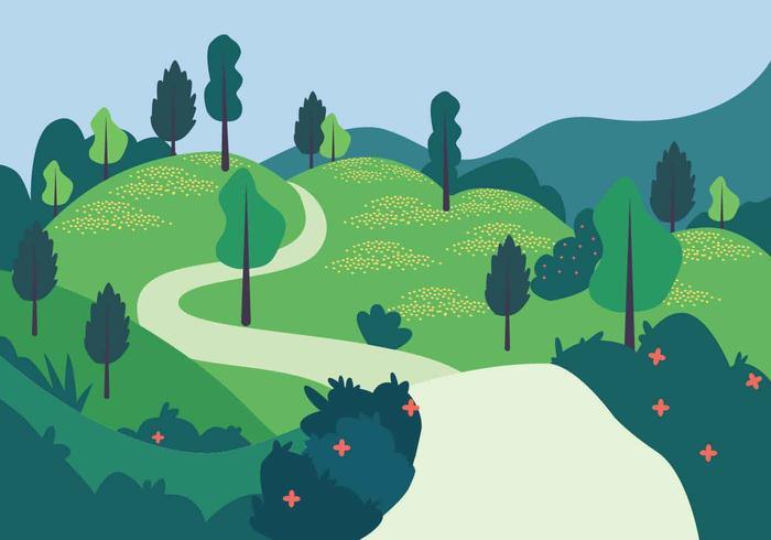 Spring Landscape Vector Illustration