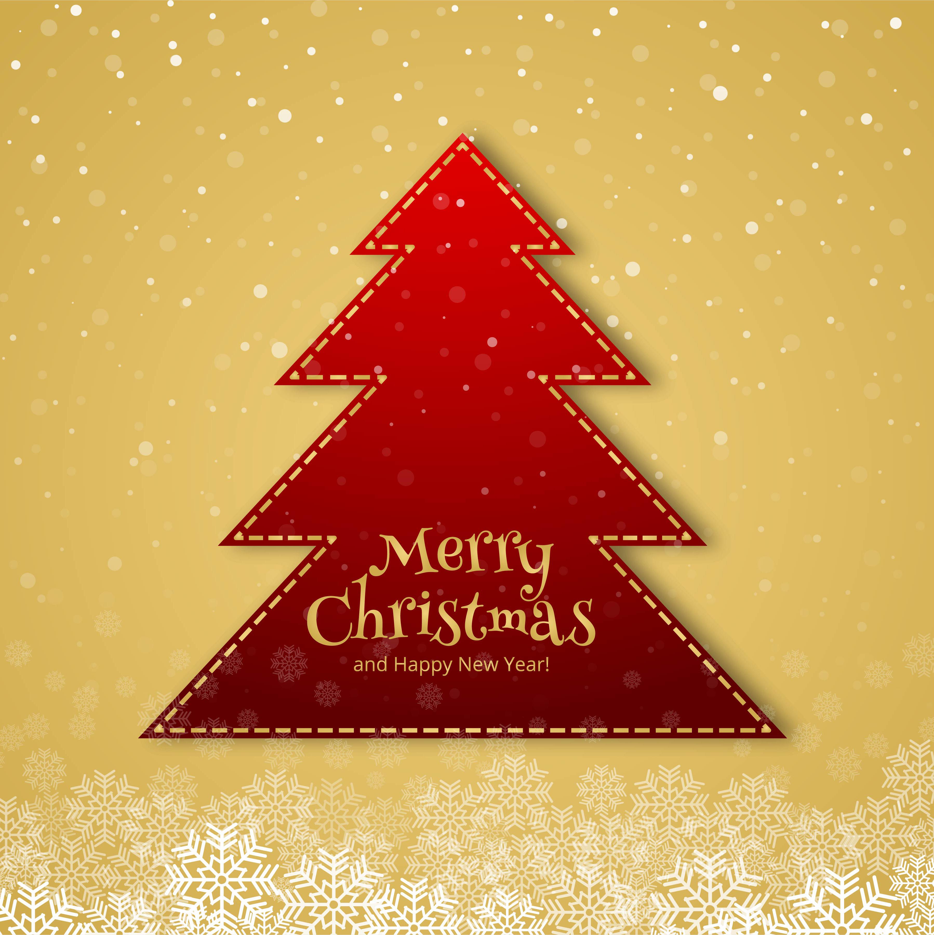 Christmas Tree Merry Christmas: Beautiful Merry Christmas Tree Celebration Card Background