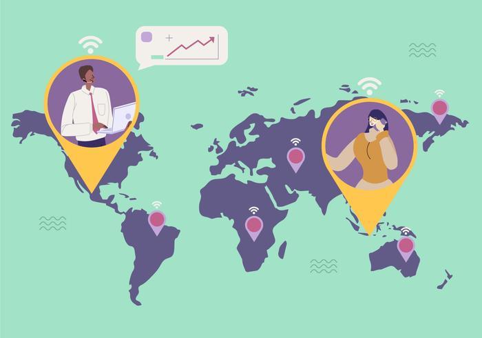 Business Connection Går Worldwide Vector Flat Illustration
