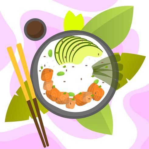 Bol de poke plat moderne avec illustration vectorielle de saumon et d'avocat vecteur