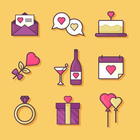 Valentines Day Elements Set Vector