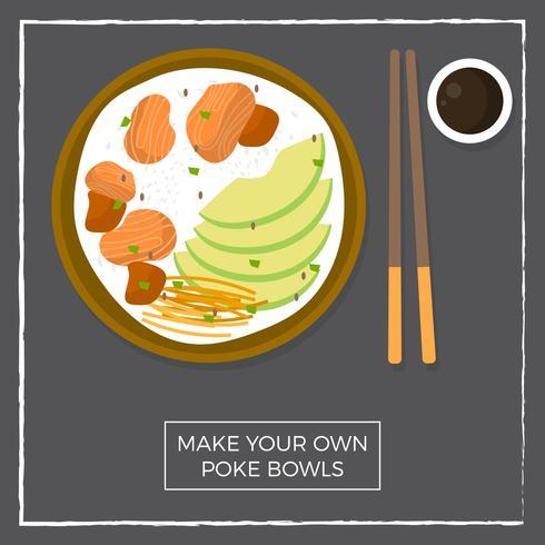 Poke bol hawaïen plat vue de dessus avec saumon et avocat illustration vectorielle