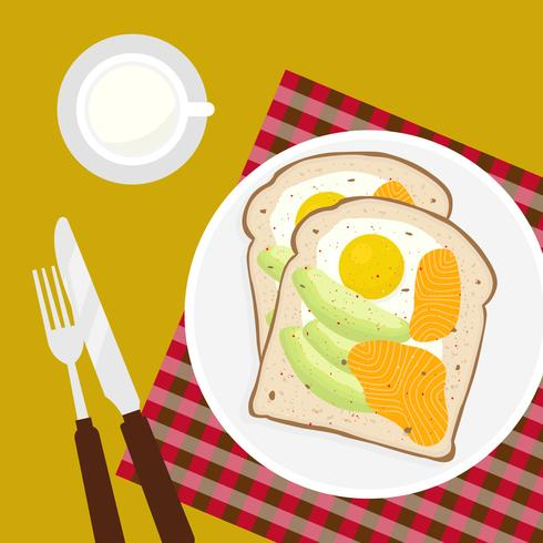 Avocado Toast Vector Illustratie
