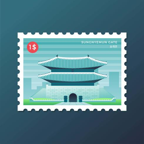 Postage Stamp Of Sungnyemun Gate At Seoul