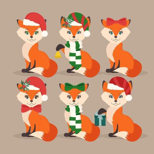 Vektor Festliga Foxes