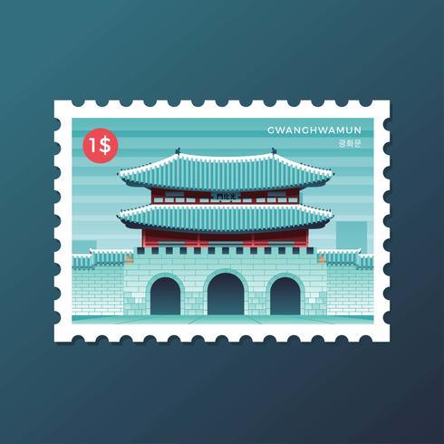 Cartão Postal De Gwanghwamun Gate Em Seul