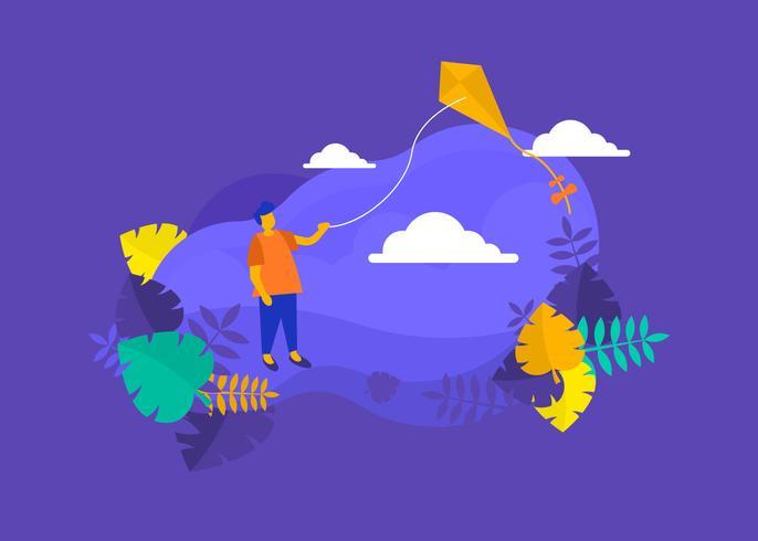 un niño volando una ilustración de cometa