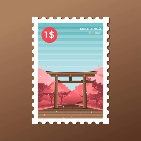 Vettore del francobollo di Torii del santuario di Tokyo Meiji della primavera