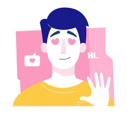 Boy With Heart Eyes Vector Illustration