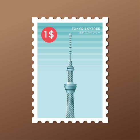 tokyo skytree torn landmärke porto stämpel mall