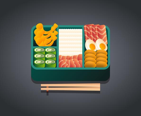 Ilustración de caja bento