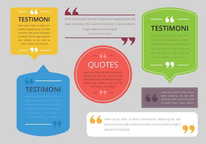 Testimonial Design. Consument Testimoni. Kundenbewertung. Zitieren Sie die Textblase. Kommas, Hinweis, Nachricht und Kommentar Vektor-Illustration
