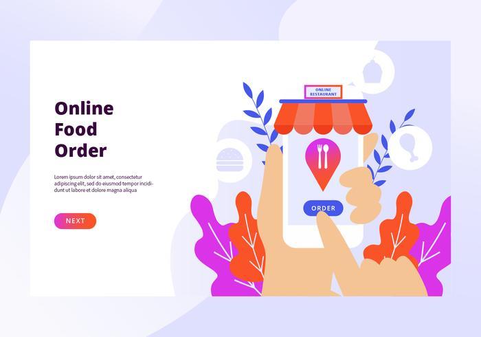 Orden de comida en línea vector banner web