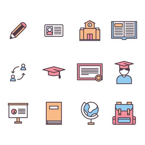 Icone delineate sull'istruzione all'estero