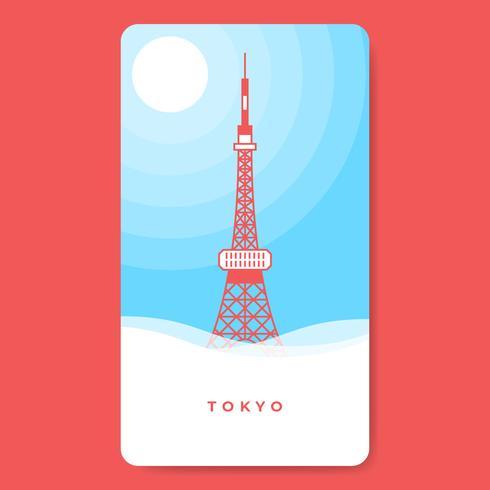 Tokyo Tower berühmter Markstein der japanischen Hauptstadt Illustration