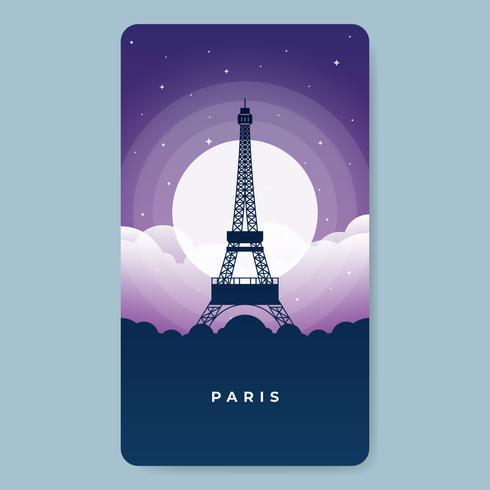 Torre di Eifel a Parigi alla notte in pieno dell'illustrazione della stella vettore