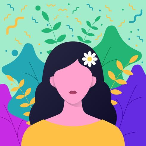 Ragazza con fiori nei capelli lunghi con sfondo elemento floreale