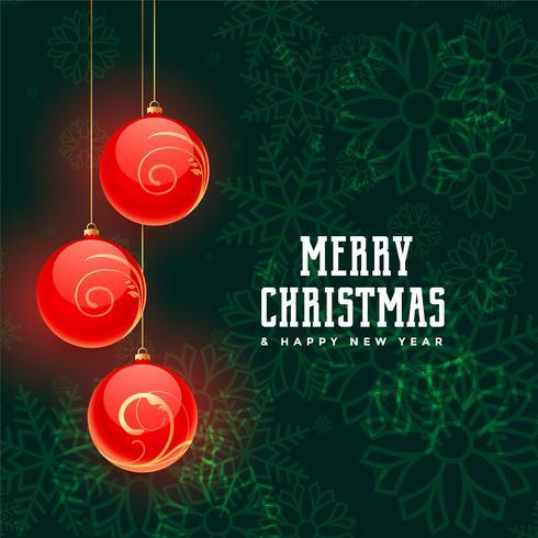 boules de Noël rouges sur fond de flocons de neige verts