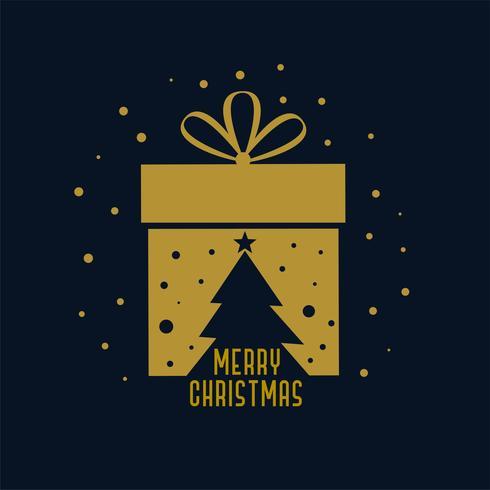 feliz tarjeta de regalo de Navidad con la silueta del árbol