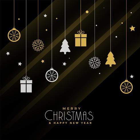 Kerst groet ontwerp met decoratieve elementen