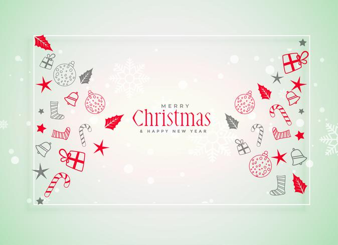 sfondo di festival di Natale con elementi decorativi