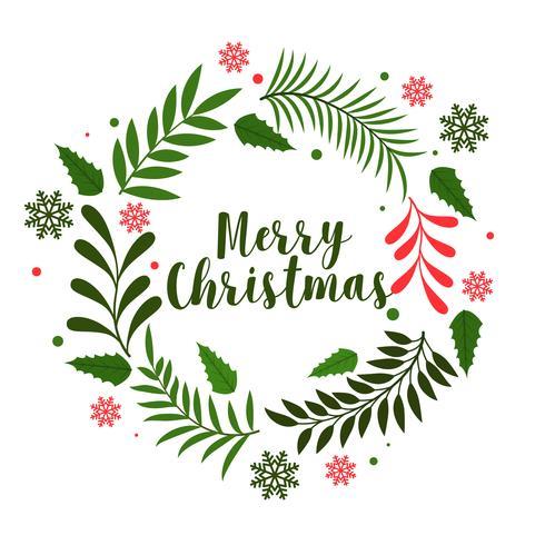 Fondo de decoración de marco de hojas de Navidad